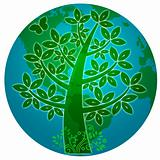 Blue Planet with Abstract Eco Tree Silhouette