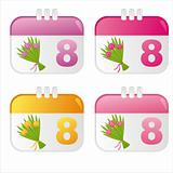 colorful 8th of March icons