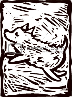 Leaping Dog Woodcut transparent