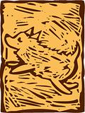 Leaping Dog Woodcut opaque