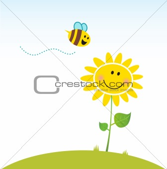 Spring & nature: Happy yellow flower with bee