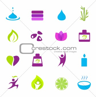 Water, wellness, nature and zen icons - pink, green, blue