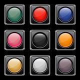 Glossy buttons set. Vector illustration.
