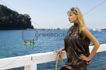 blond woman with sun glasses