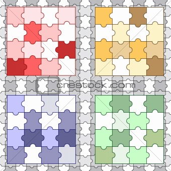 four bright puzzles on seamless grey puzzle
