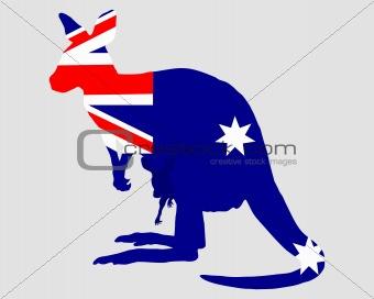 Flag of Australia with kangaroo