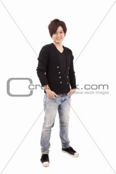 Asian young man standing with hands in pockets isolated on white background