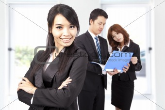 Young and smiling Business woman in an office