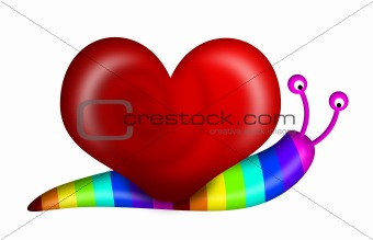 Abstract Snail with Heart Shape Shell and Rainbow Colors