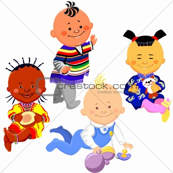 vector of kids of different nationalities of the world
