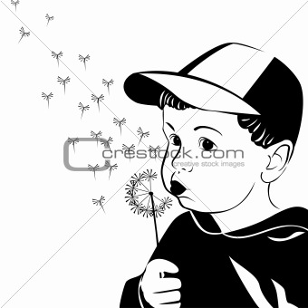 Vector little boy blowing on a dandelion