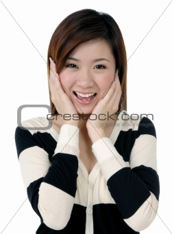 Attractive young woman looking surprised