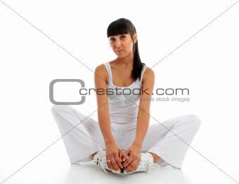 Beautiful woman fitness stretching