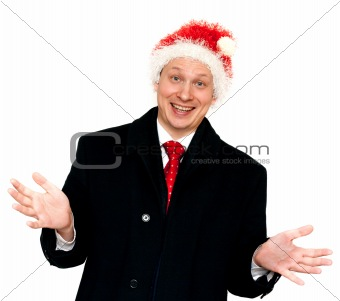 Man in suit and red tie in hat santa