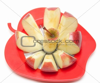 Red apple and special knife