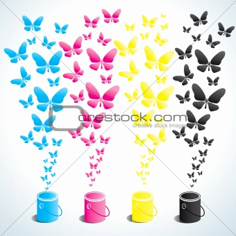 Cans of paint and butterflies