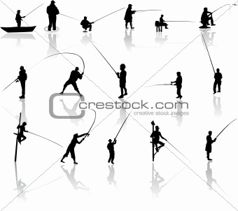 Set of Fisherman vector silhouettes