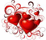Valentine's greeting card with red heart