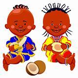 vector african kids with coconut and bananas