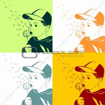 Vector little boy blowing on a dandelion