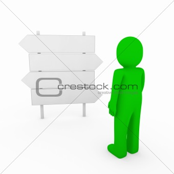 3d human green direction arrow