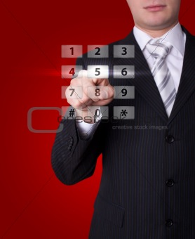 Man pressing digital buttons