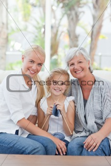 Beautiful family looking at the camera