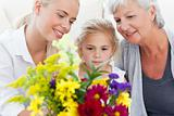 Radiant family with flowers