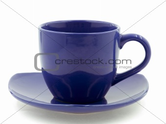 A Dark Blue Cup on a Saucer