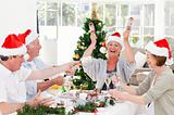 Seniors on Christmas day at home