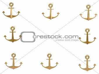 3d gold anchor photo frame