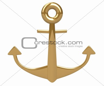 3d gold shiny anchor