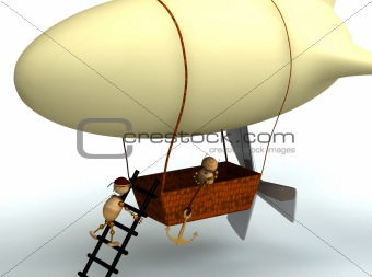 3d dirigible balloon with wood mans