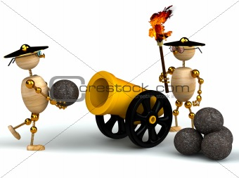 3d wood mans with a gold cannon