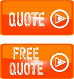 free quote button orange. vector