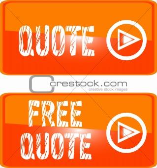 free quote button orange. vector