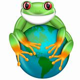 Red-Eyed Green Tree Frog Hugging Planet Earth