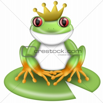 Red-Eyed Green Tree Frog Prince with Crown