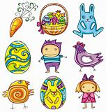 Easter doodles design elements