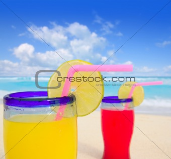 beach tropical cocktails in tropical turquoise beach