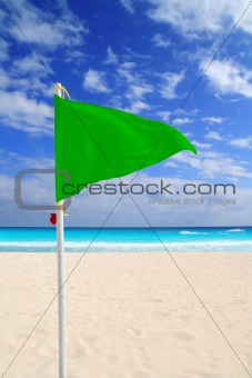 Beach green flag good weather wind Caribbean