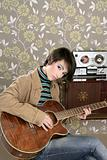 retro woman musician guitar player vintage
