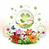 Clover in glass globe
