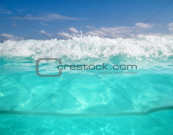 waterline caribbean sea underwater and blue sea