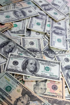 American Dollar bank notes many banknotes bills