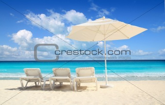 Caribbean beach parasol white umbrella hammocks