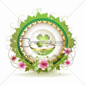 Circular floral frame with clover