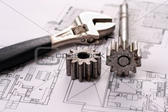 Tools on Blueprints including sprocked stacks and monkey wrench.