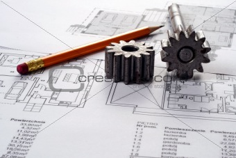 Tools on Blueprints including sprocked stacks and pencil