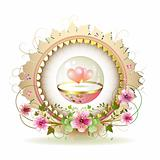 Circular floral frame with hearts